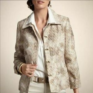 COPY - Chico's Pebbled Pammie Jacket, gold & silv…